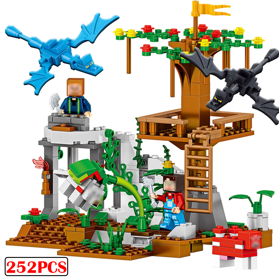 252pcs Minecrafte Model building blocks My World Compatible Legoed city Brick Figures dragon Enlighten Toys for Children friends decool 3117 city creator 3 in 1 vacation getaways model building blocks enlighten diy figure toys for children compatible legoe