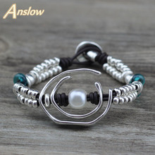 Anslow Creative Design Fashion Jewelry Best Selling Handmade DIY Charm Wrap Leather Bracelet For Elegant Women Gift LOW0712LB