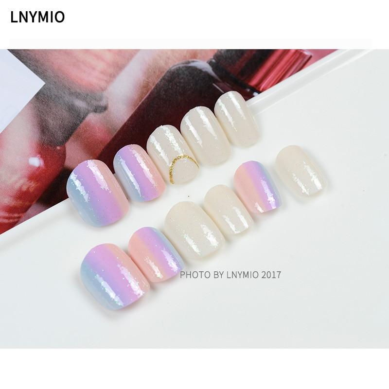 Aliexpress.com : Buy Short Rainbow fake nails light pink purple blue ...
