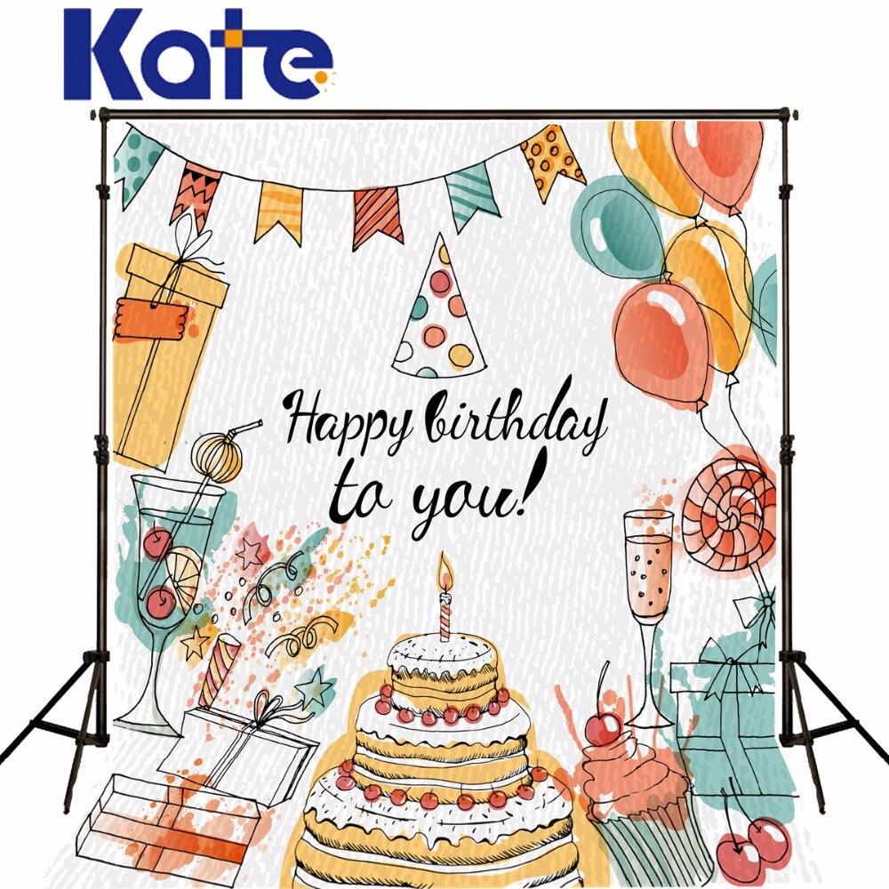 Kate Birthday Bcakgrounds Photography Freehand Cake Wine Glass Balloon Photo Studio Backdrops Fotografia Photocall сумка kate spade new york wkru2816 kate spade hanna