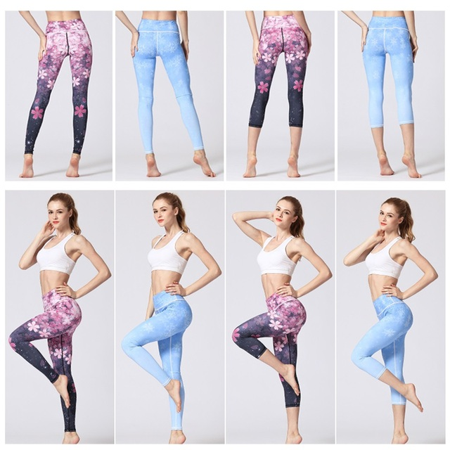 Women Fitness Yoga Pants Slim High waist Sport Leggings Gym Elastic Romantic Printed Long Tights for Running Tummy Control 2