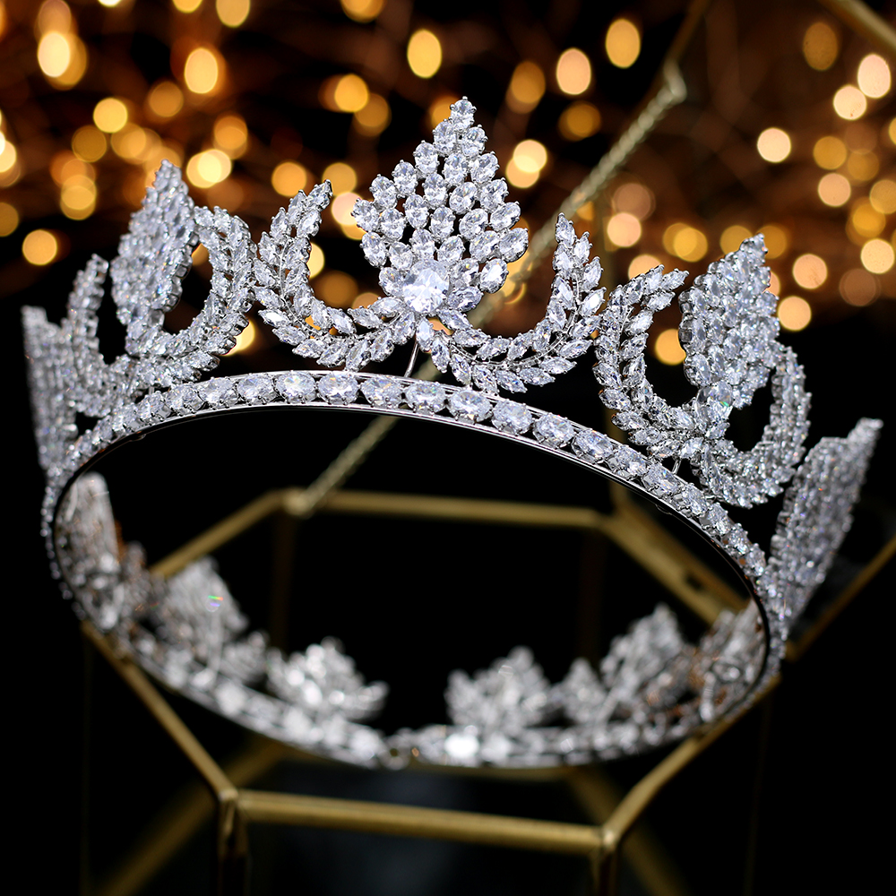 Deluxe Wedding Hair Jewelry silver zircon big round heavy Thiago and Crown King Crown Crown wedding