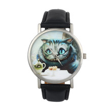 Relojes Mujer 2017 Informal Cute Cat Printed watch Womens Leather-based Band Analog Quartz Dial Sport Wrist Watch scorching Hours Clock