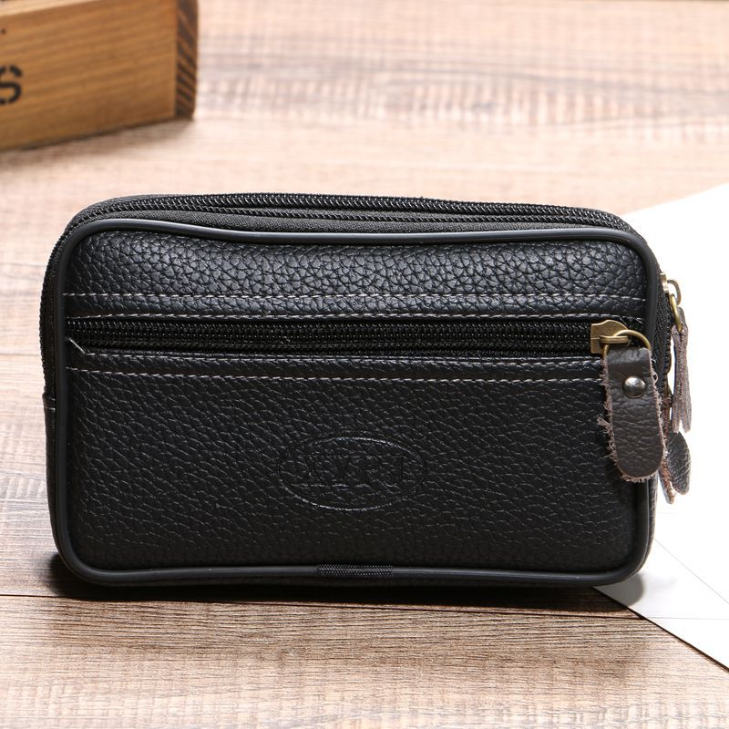 BISI GORO Cow Leather Waist Bag On The Belt Outdoor Small Wallet Wear-resistant Fanny Waist Pack Multi-function Phone Coin Men