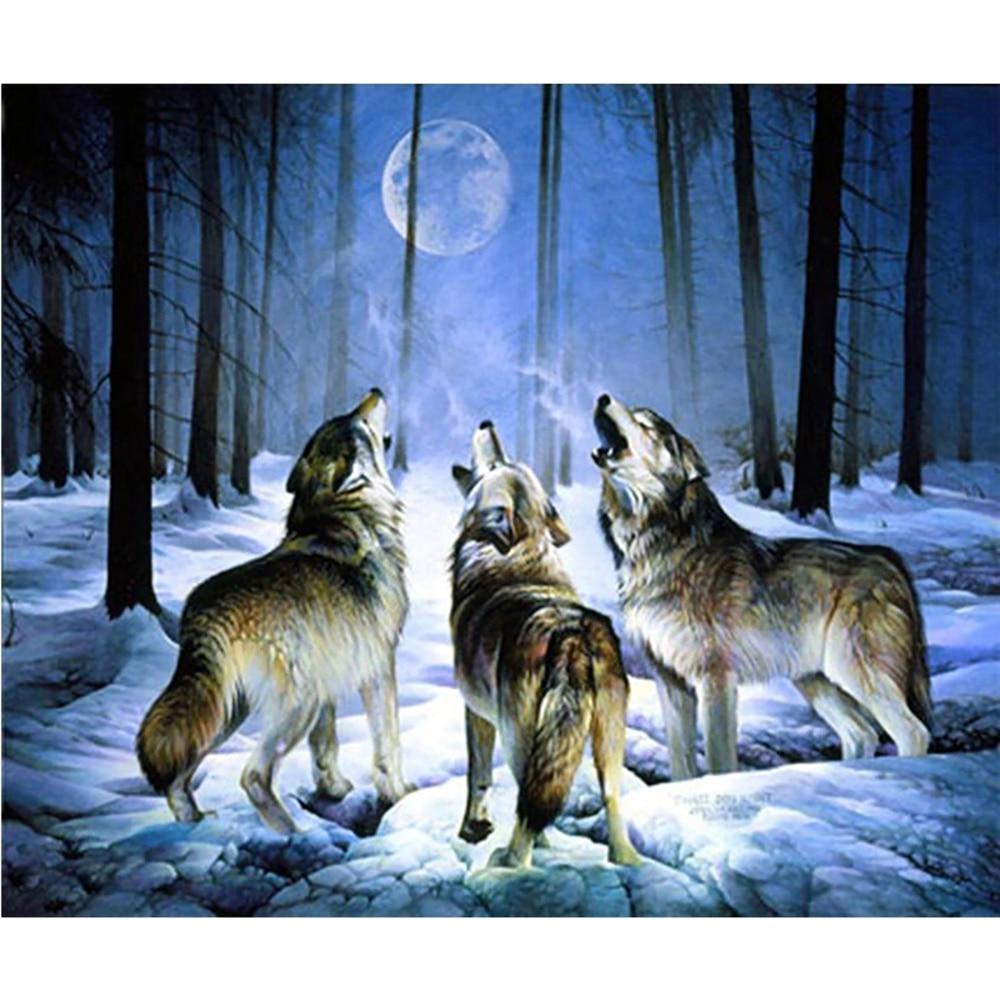 Full Squareround Diamond 5D DIY Diamond Painting Cries of wolves Embroidery Cross Stitch Rhinestone Mosaic  Home Decor