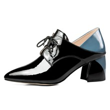 Spring 2019 New Fashion Single Shoes With Rough High Heels Euro-european Genuine Leather High-quality Women's Shoes new arrival spring autumn plus size 11 12 fashion elegant mature womens shoes cross tied rough with low heels single shoes