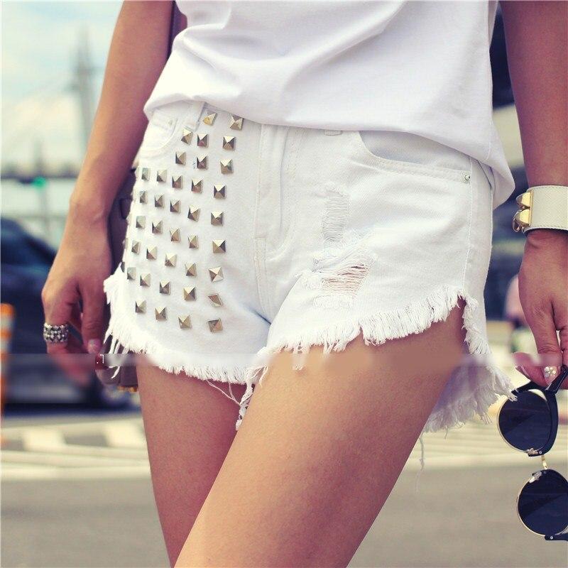 Denim Sexy Couleurs Mode Noir Haute Femmes 3 Taille Jeans Hot Skinny Punk Court Rivet pu blanc Style Nouveau Trou Qualité Vintage Mi Ciel 4aUa5qwO