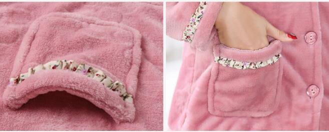 Image 5 - Fdfklak New casual pajamas for women long sleeve flannel pyjamas women large size women's pijamas set thick warm sleepwear suit-in Pajama Sets from Underwear & Sleepwears