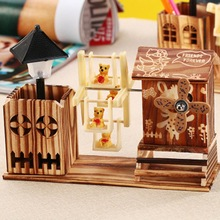 1PC Colorful Windmill Bear Music Box Home Decoration Crafts Wooden Windmill Rotating With Student Pen Holder
