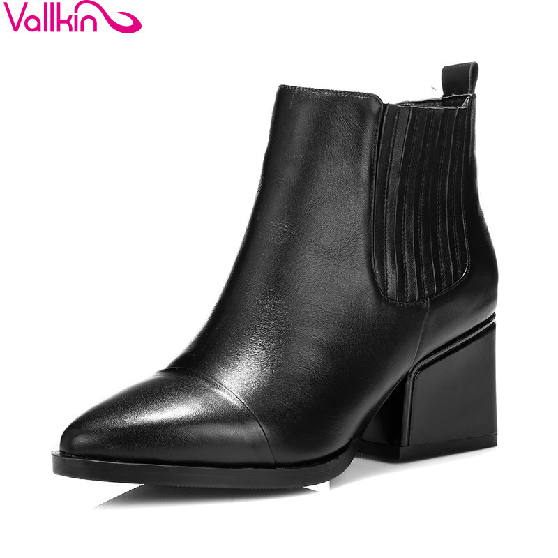 VALLKIN 2018 Women Boots High Heels Elastic Band Cow Leather+PU Pointed Toe Square Heels Ankle Boots Ladies Shoes Size 34-39 esveva 2018 women boots short plush pu lining elastic band pointed toe square high heels ankle boots ladies shoes size 34 39