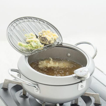 Температура Контролируемая сковорода темпура 20 см серебро жареная Сковорода со стойкой термометр высокое качество глубокий сито для жарки