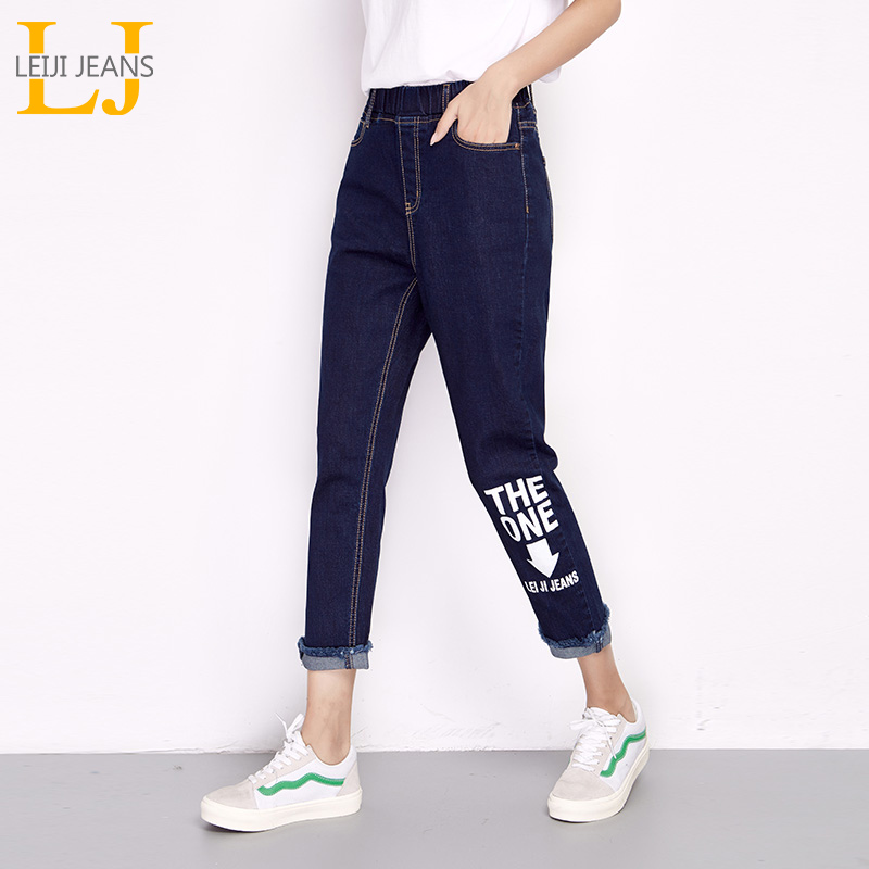 LEIJIJEANS New Arrival Spring And Summer Paragraph Loose Casual English Printing Plus Size Women Elastic Waist   Jeans   6162