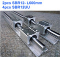 2pcs12mm linear shaft  rail SBR12 -L600mm, 4pcs SBR12UU blocks)