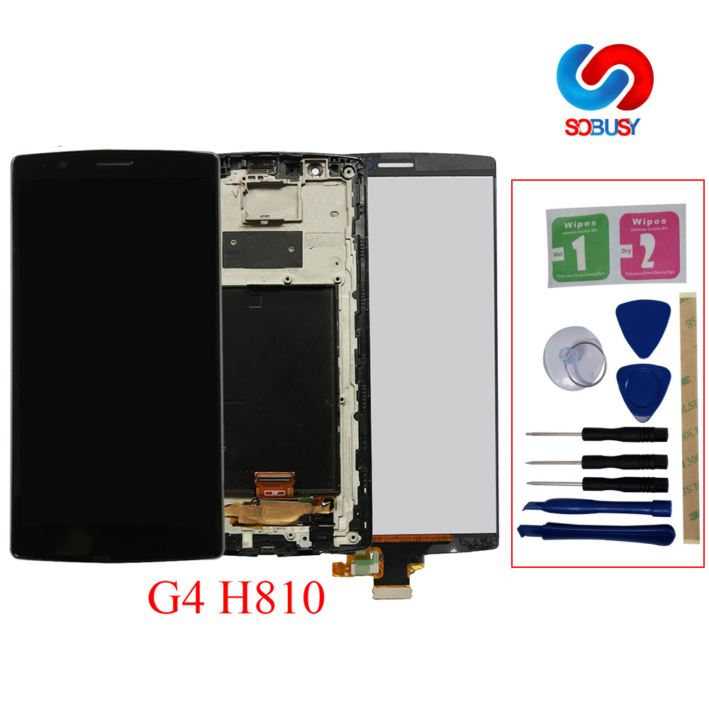 Original Single SIM for LG G4 H815 H810 H811 LCD Display Touch Screen with Frame Replacment Parts for LG G4 LCD Pantalla Ecran image