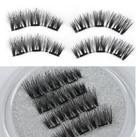 1 Set 100% Human Hair Triple Magnetic False Eyelashes Thick Natural Makeup Glue-free Magnet Eye Lashes Extension Make up Tools False Eyelashes