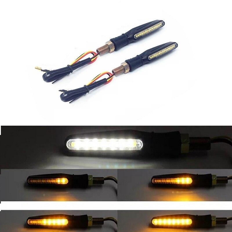 Motorcycle Turn Signal Light LED Flasher Motorcycle Lamp Daylight White Bar Stop Signal Light for KTM Kawasaki Yamaha Pisca