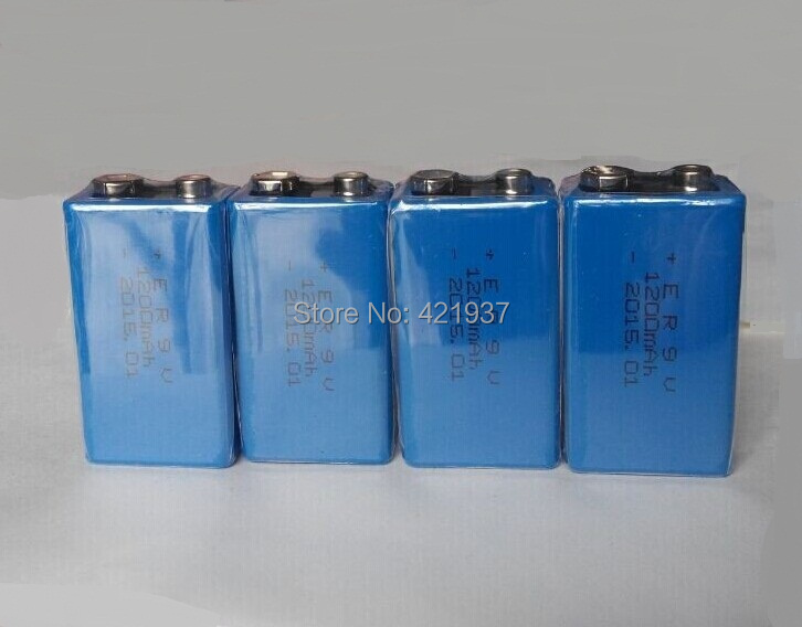 4pcs/lot 9V Battery 1200mAh 9v Lithium Battery for Smoke Alarms, Toys, Wireless Cameras, Mics Battery