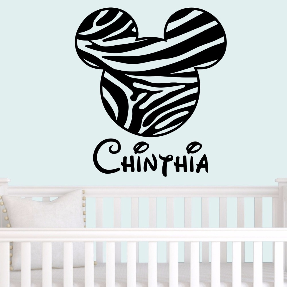 Zebra Print Mouse Ears Wall Decal With Personalized Name Vinyl Wall Stickers  For Kids Rooms Nursery