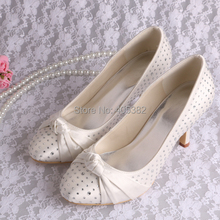 Wedopus Custom Color and Heel Beige Satin Crystal Stiletto Wedding Shoes Small Size 6
