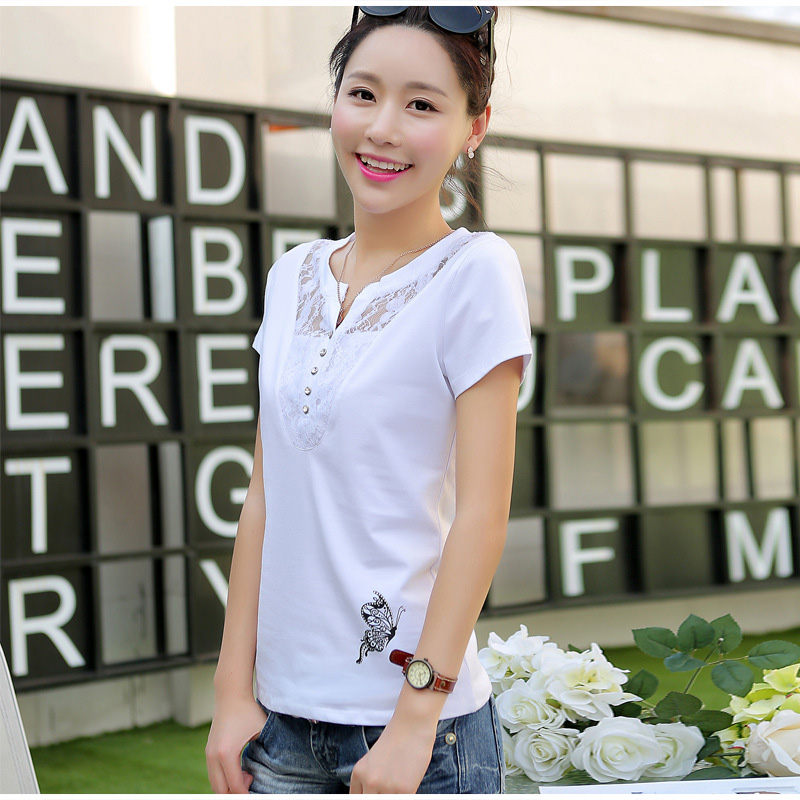 Women's Short Sleeve Lace Patchwork T-Shirt Print Office Lady Casual Women T-Shirts Plus Size 3XL 2019 Summer Tees Tops Female 10