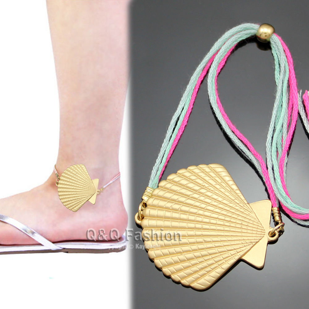 Festival Gold Scallop Shell Conch Rope Ankle Charm Bracelet Sandal Anklet Gift Jewelry 2017 New
