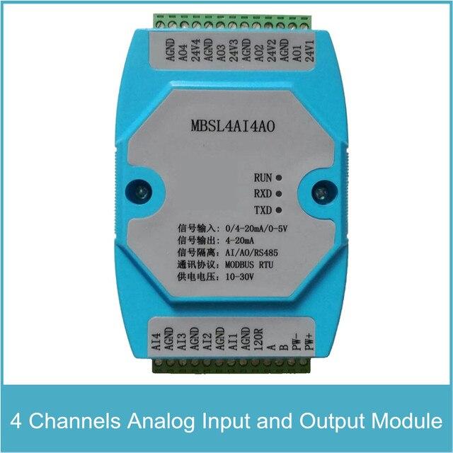 4 канальный аналоговый входной и выходной модуль, 4 канальный AD вход и DA выход, RS485 MODBUS протокол связи