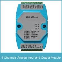 4 canaux Module dentrée et de sortie analogique 4 canaux entrée AD et sortie DA RS485 MODBUS protocole Communication