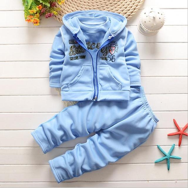 2016 New Winter  Autumn Baby Clothing Boys and Girls Set Sport Suit 3Pcs vest+T-Shirt+Pants Baby Summer Sets Baby clothing F117
