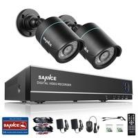 SANNCE New HD 4CH CCTV System 1080P DVR 2PCS 720P 1200TVL IR Outdoor Video Surveillance Security