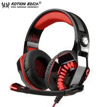 KOTION EACH 3.5mm Gaming Headset casque PC Gamer Stereo Headphones with Mic and Led Light for Computer Game G2000 Upgrade