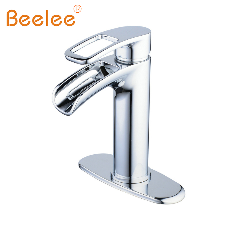 Beelee Bathroom Faucet with Deck Plate Basin Mixer Faucet Solid Brass Sink Vessel Tap,Finshed Chrome/Brushed Nickel beelee ba8609c free shipping bathroom accessories products solid brass