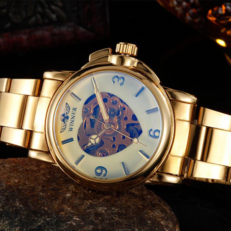 Prix pour 2016 vainqueur or belle montres marque de luxe femmes mode automatique évider horloge lady robe montres mécaniques relogio