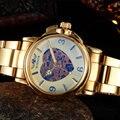 2016 vencedor ouro encantador relógios de luxo da marca moda feminina automático oco fora relógio lady vestido de relógios mecânicos relogio