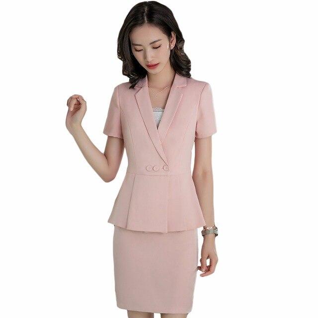cef005de27 Nuevo 2018 trajes de mujer con faldas elegantes trajes de trabajo de mujer  de oficina uniformes