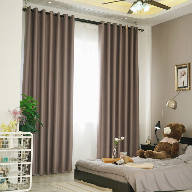 Modern Curtain Plain Solid Color Blackout Full Shade Living Room Window Curtain  Panel Short Kitchen Door