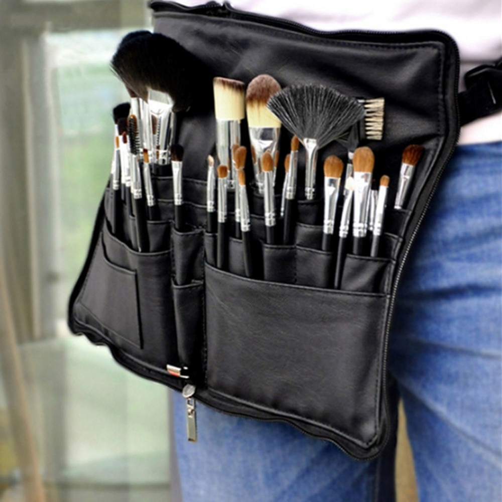 Black Two Arrays Makeup Brush Holder Stand 24 Pockets Strap Belt Waist Bag Salon Makeup Artist Cosmetic Brush Organizer C528