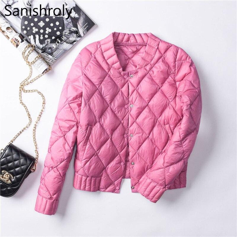 Sanishroly Women White Duck   Down   Jacket Autumn Winter Female Button Ultra Light   Down     Coat   Parka Short Tops Plus Size 3XL SE564