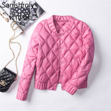 Sanishroly Women White Duck Down Jacket Autumn Winter Female