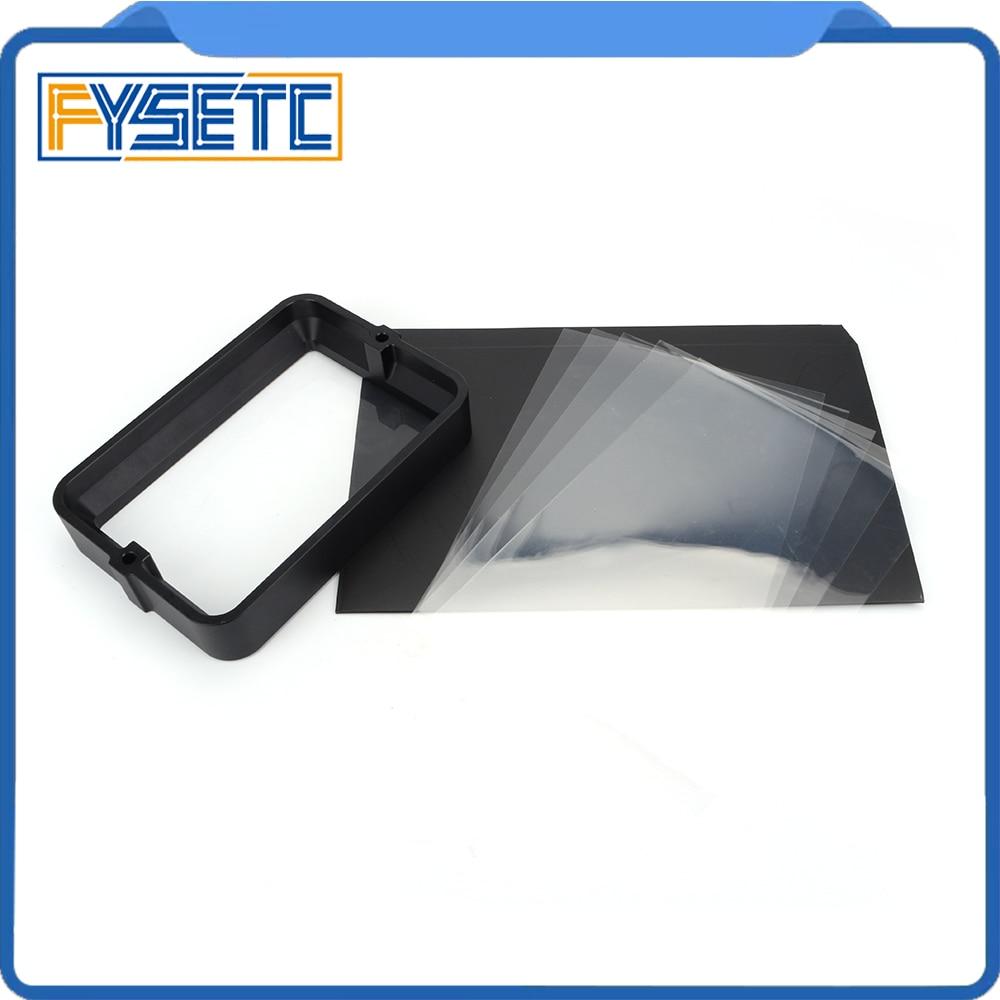 Material Rack negro 178*120mm con 5 uds. FEP Film para DLP SLA wangao D7 3D impresora de resina de aluminio anodizado Vat anillo de acero