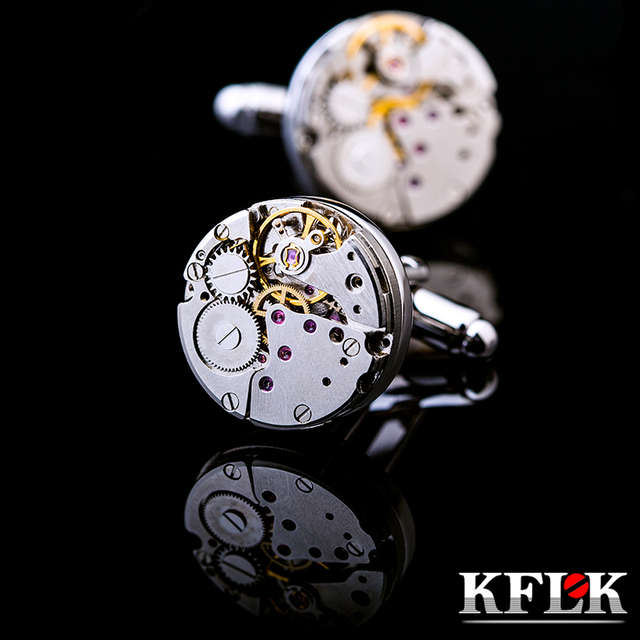 Kflk High Mechanical Cufflinks Mens Silvery Cuff Links Wedding French Shirt Button