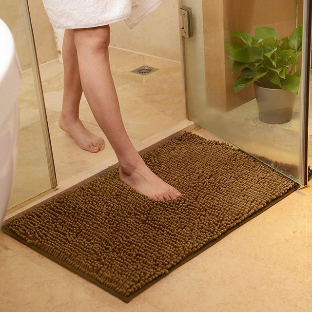 Enipate Non-slip 3 Sizes Bathroom Carpet Microfiber Rugs Bath Mat Bathroom Mat for Toilet Anti-slipping Absorbent Soft Chenille