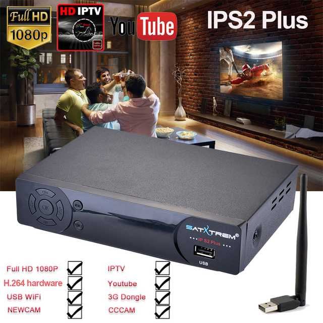 IPS2 Plus Satellite Receiver Full Digital HD DVB-S2 Set Top Box Support Android/M3U of 2500+ Spain/Poland /Europe Channels IPTV