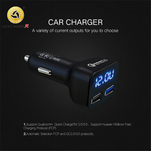 New Car USB Charger Quick Charge 3.0 Voltage display Mobile Phone 2  Fast for iPhone Samsung Tablet
