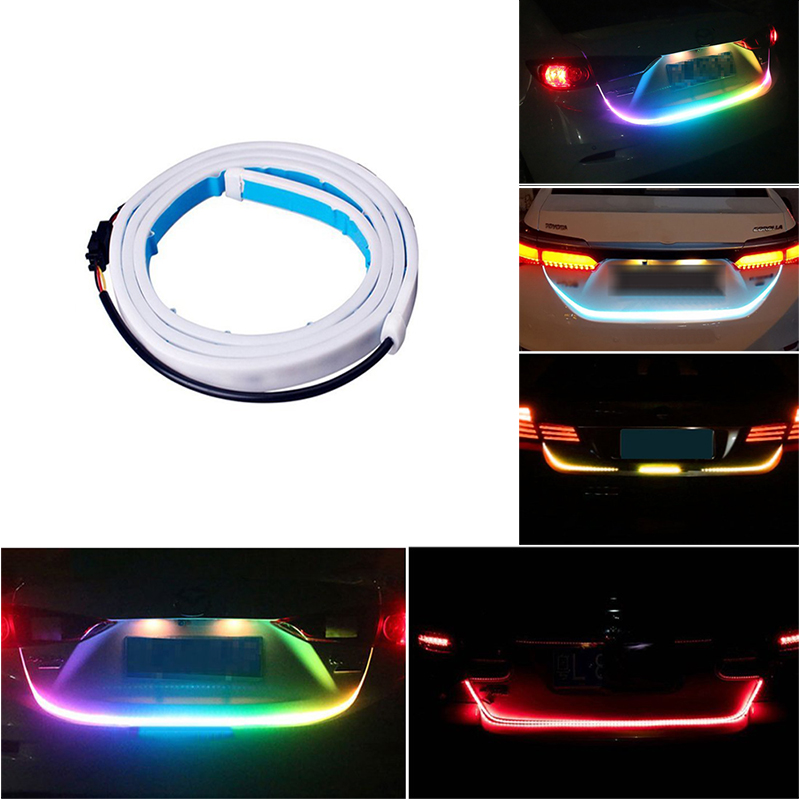 Car Styling LED Strip Trunk Light 12V RGB 120cm IP68 Multifunction Auto Rear DRL Warning Lamp Turn Signal Brake Reverse Lights 1 pair car led lights 12 24v drl head lights 8w turn light strip