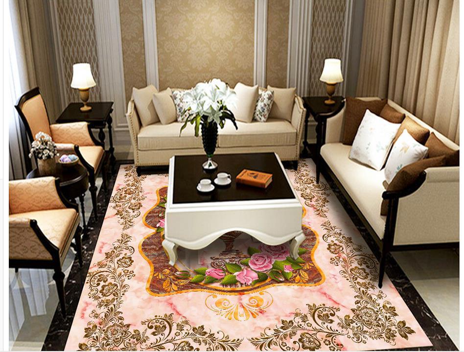 Rose Vase marbre plancher pvc auto-adhésif papier peint plancher papier peint 3d pour salles de bains 3d plancher - 3