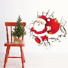 Christmas Decor Santa Claus Through Wall To Send Gift Wall Sticker For Kids Rooms Store Window 3d effect Mural Children Gift