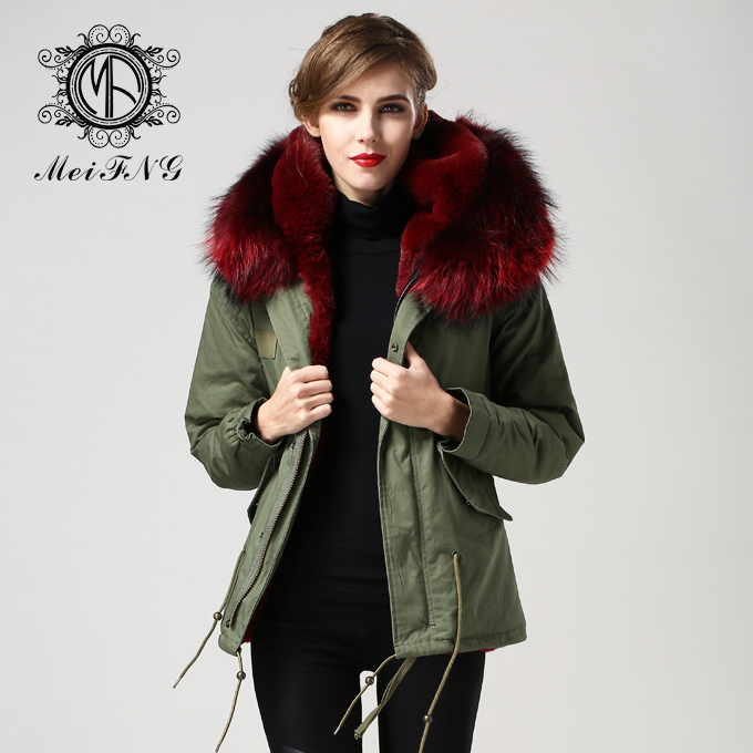 Online Shop 2015 fashion wine red fur parka with faux fur lining ...