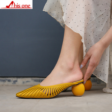 цены Fashion 4cm strange heel Summer Heel Narrow Band Design High Heel Sandals Fashion Women Chunky Shoes Point Toe Slippers Lady