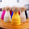 Real Knit Cap Hat Rabbit Faux Fur Ball Keep Warm Winter Hat For Women Girl Cap Hat Thick Thermal women Cap
