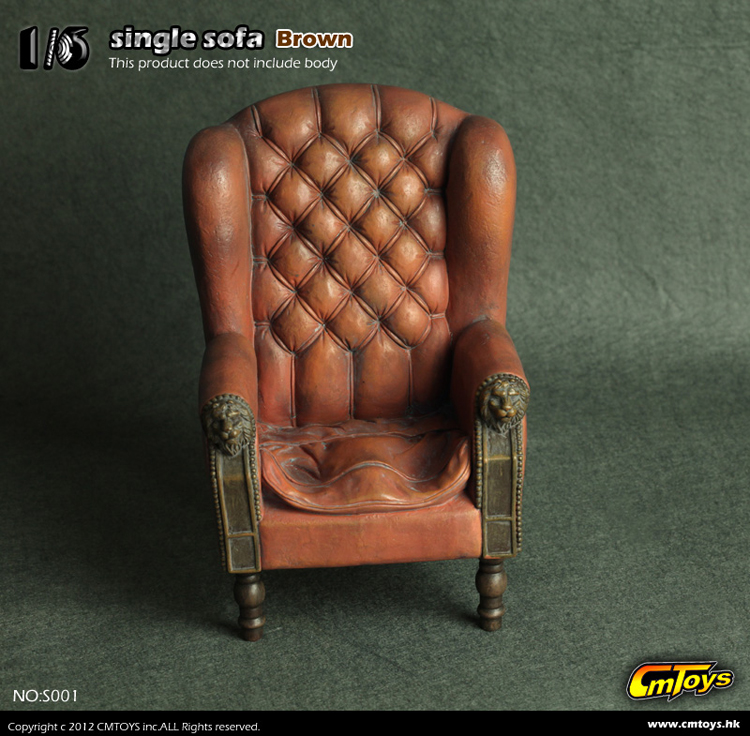 """Retro 1/6 Scale  Single Sofa Armchair Couch Model Toys Collection Gift S001/S002 For 12"""" Action Figure Accessory"""